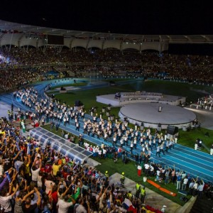 Team Colombia enters the stadium at the opening of The World Games IX